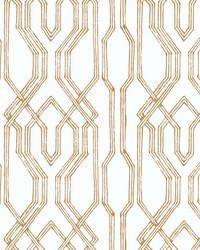 Oriental Lattice Wallpaper White  Gold by