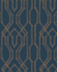 Oriental Lattice Wallpaper Blue  Gold by