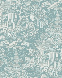 Chinoiserie Wallpaper Blue  Green by