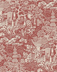 Chinoiserie Wallpaper Red  Orange by