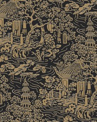 Chinoiserie Wallpaper Black  Gold by