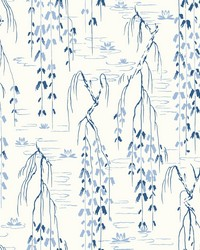Willow Branches Wallpaper White  Blue by