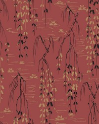 Willow Branches Wallpaper Red  Black  Gold by