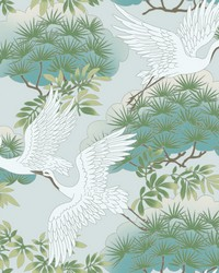 Sprig & Heron Wallpaper Teal by