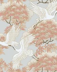 Sprig & Heron Wallpaper Orange by