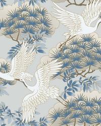 Sprig & Heron Wallpaper Light Blue by