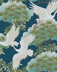 Sprig & Heron Wallpaper Blue by