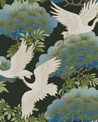 Sprig & Heron Wallpaper Black by