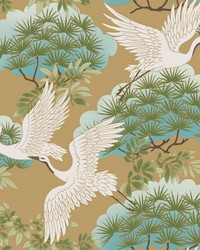 Sprig & Heron Wallpaper Gold by