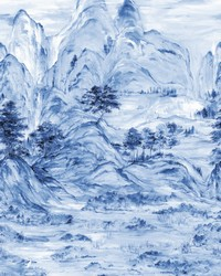 Misty Mountain Mural Blue by