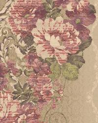 Floral Stripe 12 Lt Brown Burgundy AR7722 by