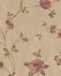 Floral Vine 34 Lt Brown Burgundy AR7725 by