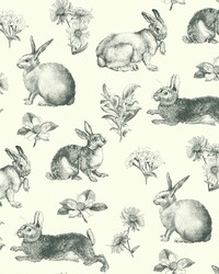 Bunny Toile Wallpaper Black White by