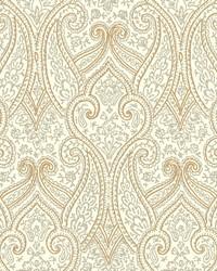 Luxury Paisley Wallpaper off-white  metallic gold  metallic silver by