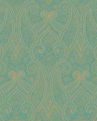 Luxury Paisley Wallpaper bright teal  metallic gold  beige by