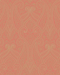Luxury Paisley Wallpaper coral  metallic gold by