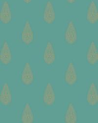 Luxury Teardrop Wallpaper bright teal  metallic gold  beige by