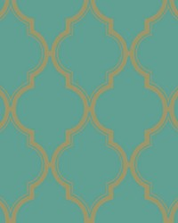 Luxury Trellis Wallpaper bright teal  metallic gold by