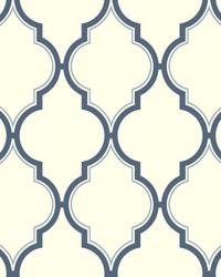 Luxury Trellis Wallpaper white  deep blue by