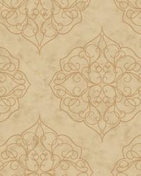 Rose Window Wallpaper beige  tan  metallic gold by