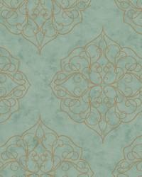Rose Window Wallpaper aqua  teal  metallic gold by