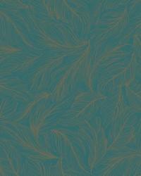 Light As A Feather Wallpaper deep teal  metallic gold by