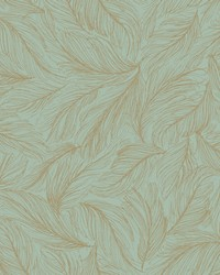 Light As A Feather Wallpaper turquoise  metallic gold by