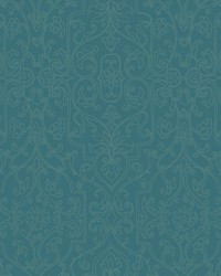 Palace Gates Wallpaper dark teal  silver by