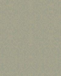 Palace Gates Wallpaper pale greenish grey  gold by