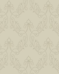 Stitched Ornamental Wallpaper pale grey  gold glass beads by