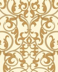 Royal Scroll Wallpaper cream  metallic golds by