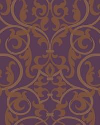 Royal Scroll Wallpaper deep purple  metallic gold  metallic brass by