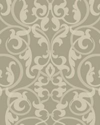 Royal Scroll Wallpaper silver grey  light grey  pale grey by