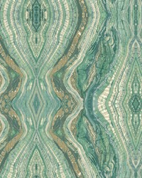 Kaleidoscope Wallpaper greens  white  tan by
