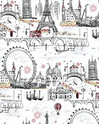 Novelty Euro Scenic Wallpaper White Black Red by