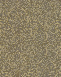 Paradise Wallpaper gray metallic gold silver by