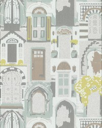Knock  Knock Wallpaper - Silver Mint Greens by