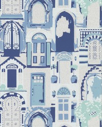 Knock  Knock Wallpaper - Silver Blue Blues by