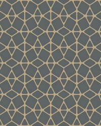 Facet Wallpaper - Black Gold Metallics by