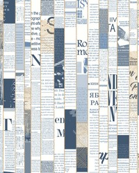 Read Between the Lines Wallpaper - Navy Blues by