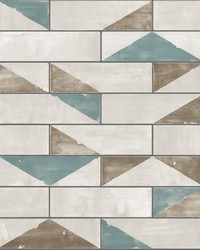 Underground Wallpaper - Teal Ochre Beiges by