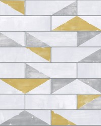 Underground Wallpaper - Citron Grey White Off Whites by