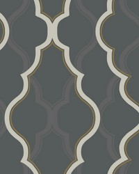 Double Damask Wallpaper Black by