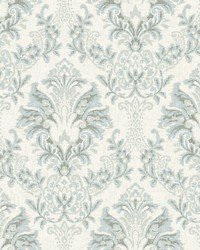 Bold Brocade Wallpaper Blue  Grey by
