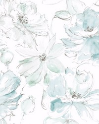 Floral Dreams Wallpaper Blue. Green by