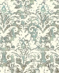 Batik Damask Wallpaper Blue  Grey by