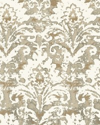 Batik Damask Wallpaper Taupe by