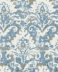 Batik Damask Wallpaper Blue by