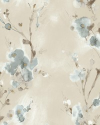 Charm Wallpaper Soft Blue Browns Blacks by
