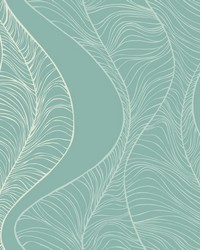 Hoopla Wallpaper Teal Blues White Off Whites by